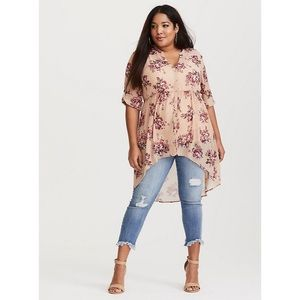 Torrid 1X Hi Low Tunic Top Blouse Blush Floral